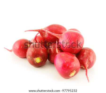Fresh radishes on white background