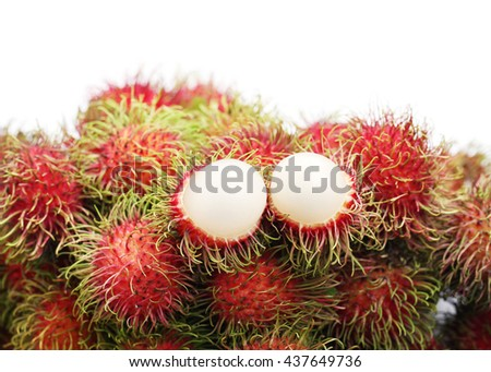 Fresh rambutan isolated on white background,sweet delicious fruit. - stock photo