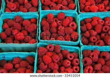 Fresh Raspberries - stock photo