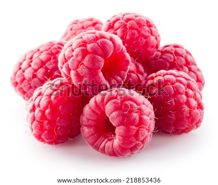 Fresh raspberry. Berries isolated on white - stock photo