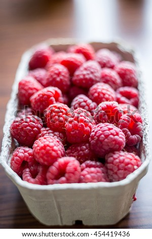 Fresh Raspberry in the Box, Vertical View - stock photo
