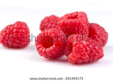 Fresh raspberry isolated on a white background - stock photo