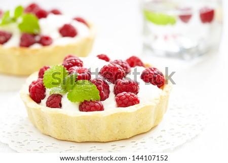 Fresh Raspberry Tart - stock photo