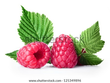 Fresh raspberry with green leaf on white background - stock photo
