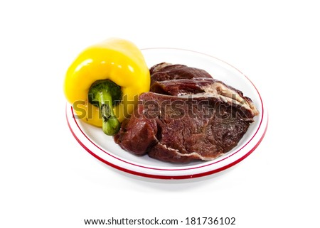 Fresh Raw Beef Meat with Yellow Capsicum  - stock photo