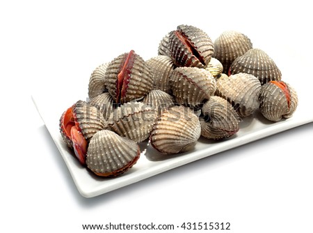 Fresh raw cockles, delicious seafood on white background
