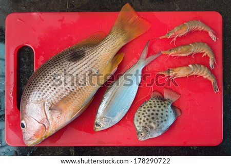 Fresh raw fish and shrimps on a kitchen cutting board - stock photo