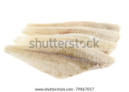 Fresh raw fish fillet isolated over white - stock photo