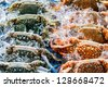 Fresh raw flower crab or blue crab in Thailand fresh market - stock photo