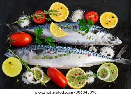 Fresh raw mackerel with vegetables on a black metal background - stock photo