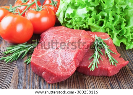 Fresh raw meat beef steak - stock photo