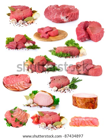 fresh raw meat collection isolated on white
