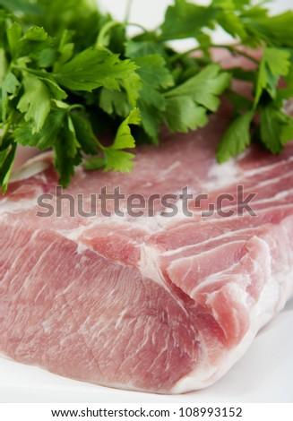 fresh raw pork meat isolated on white background - stock photo