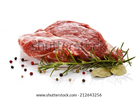 Fresh raw pork on white background - stock photo