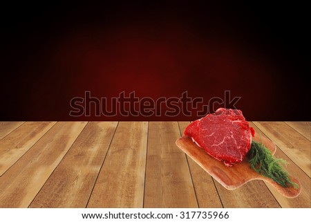 fresh raw red beef meat big steak chunk on wooden cut board isolated over white background - stock photo