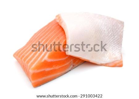 fresh raw salmon fillet isolated on white background  - stock photo