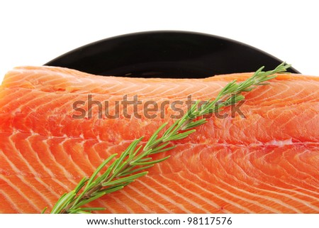 fresh raw salmon fillet on black over white and rosemary - stock photo
