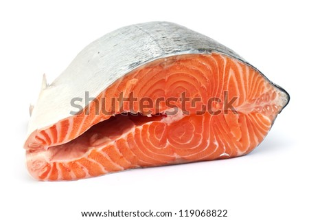 Fresh raw salmon isolated on white background - stock photo