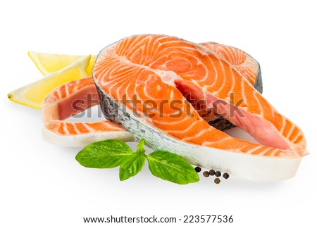 Fresh Raw Salmon Red Fish Steak isolated on a White Background  - stock photo