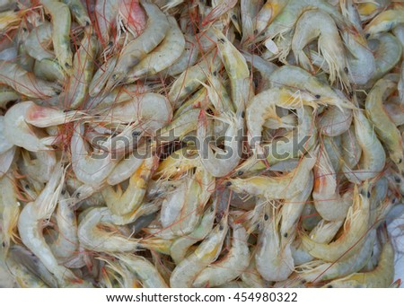 Fresh raw shrimps seafood for sale in a local market in Thailand
