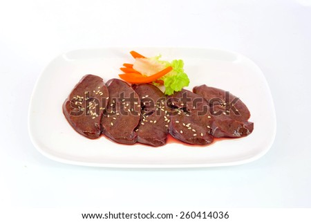 Fresh raw veal liver slices - stock photo