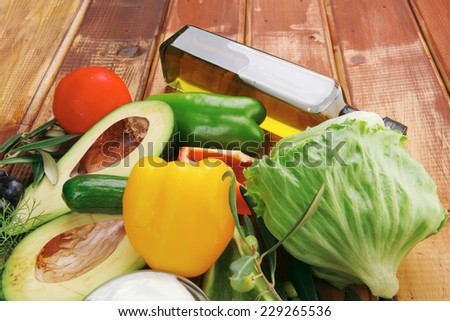 fresh raw vegetables served on table for salad