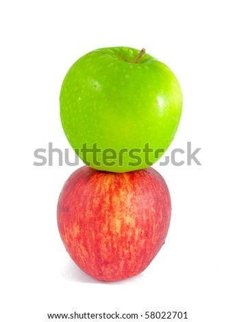 Fresh red and green apples - stock photo