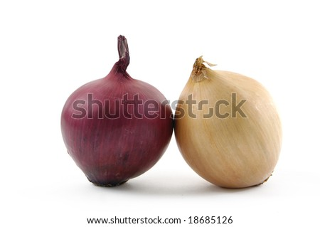 Fresh red and yellow onion; on white