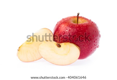 Fresh red apple and slice apple isolated on white background - stock photo