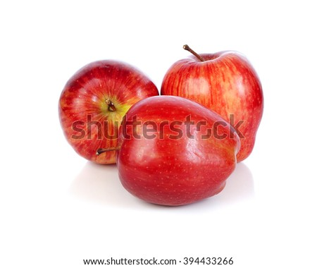 Fresh red apple isolated on white. - stock photo