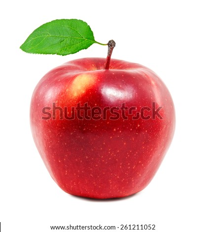 Fresh red apple on a white background - stock photo