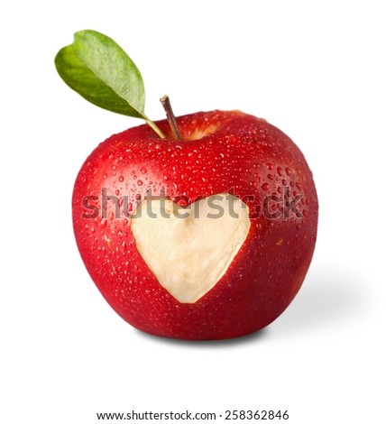 fresh red apple with heart symbol and leaf  - stock photo