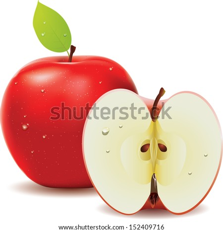 Fresh red apple with leaf and half of apple on white background
