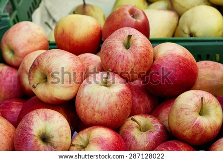 Fresh red apples at the local farmers market - stock photo