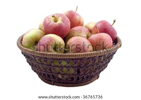 Fresh Red Apples In Basket Isolated On White Background