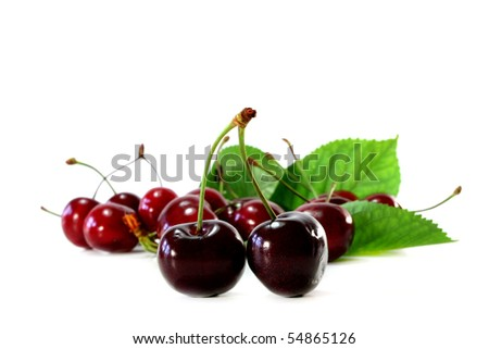 fresh red cherries on a white background
