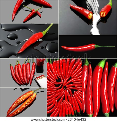 fresh red hot chili peppers collage composition on a square  frame - stock photo