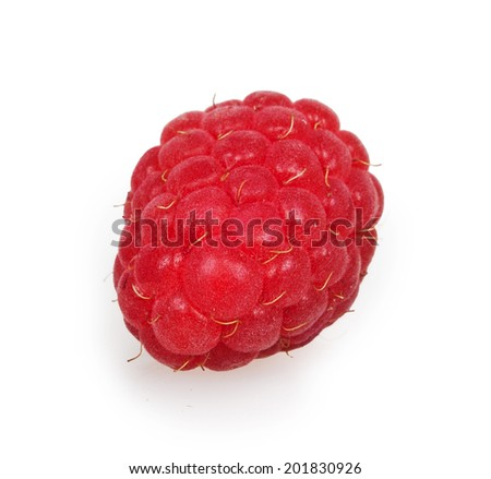 Fresh red raspberry isolated on white background