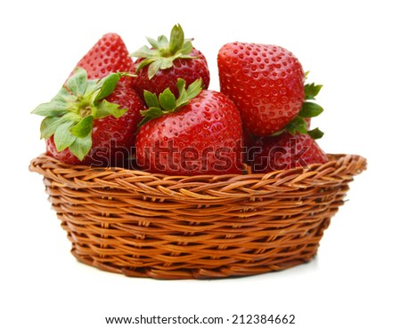 Fresh red ripe strawberries isolated in basket on white