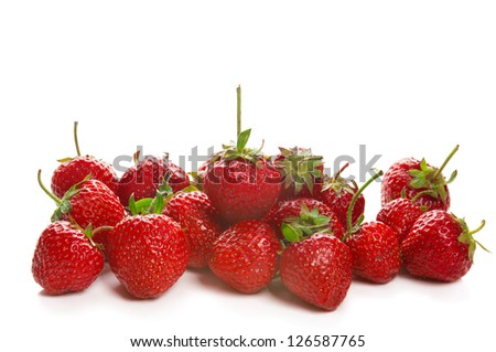 Fresh red ripe strawberries isolated on white