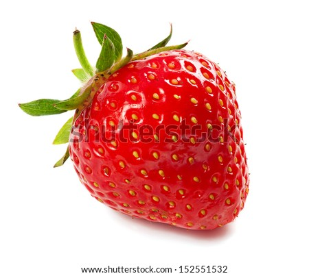 Fresh red ripe strawberry isolated on white, macro image - stock photo