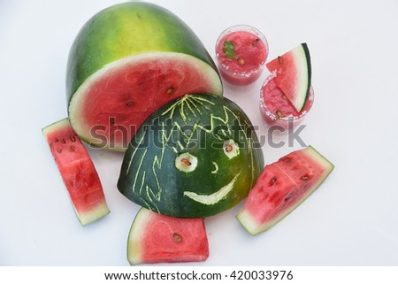 Fresh red ripe watermelon for making drink / juice, slices of watermelon, India. Healthy refreshing  drink for hot summer. Reduce the body heat, cool drinks - stock photo