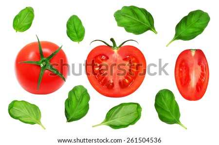 Fresh red tomato, slices and basil leaves on isolated white backround - stock photo