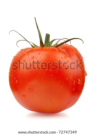 Fresh red tomato with water drops. Isolated on white background - stock photo