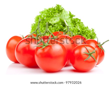 Fresh red tomatoes and lettuce Isolated on white background