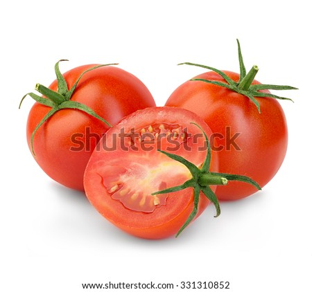 Fresh red tomatoes isolated on white background. - stock photo