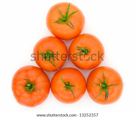 fresh red tomatoes on a white background