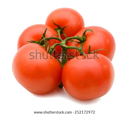 fresh red tomatoes with green stem on white background - stock photo