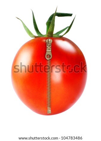 Fresh Red tomatoes with zipper on white background - stock photo