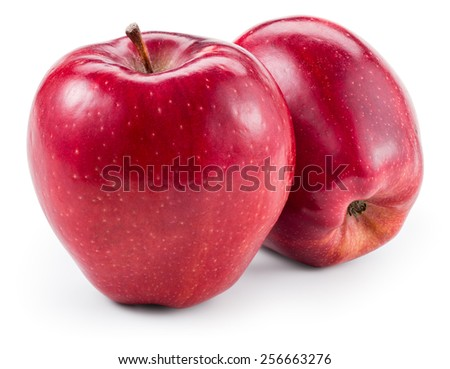 Fresh red two apples isolated on white. With clipping path - stock photo